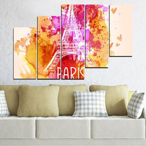 Canvas prints & wall decorative panels - 5 pieces №0456 » Red, Pink, Yellow, White, Beige » Collage, Landmark, Eiffel tower, Paris, France Form #8
