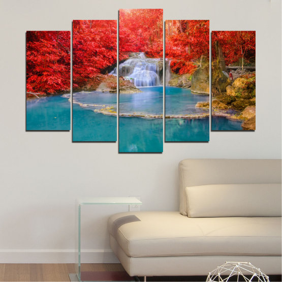 Canvas prints & wall decorative panels - 5 pieces №0457 » Red, Blue, Brown, Gray » Nature, Landscape, Water, Waterfall, Autumn Form #1