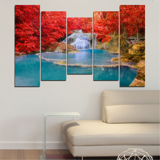 Canvas prints & wall decorative panels - 5 pieces №0457 » Red, Blue, Brown, Gray » Nature, Landscape, Water, Waterfall, Autumn Form #4