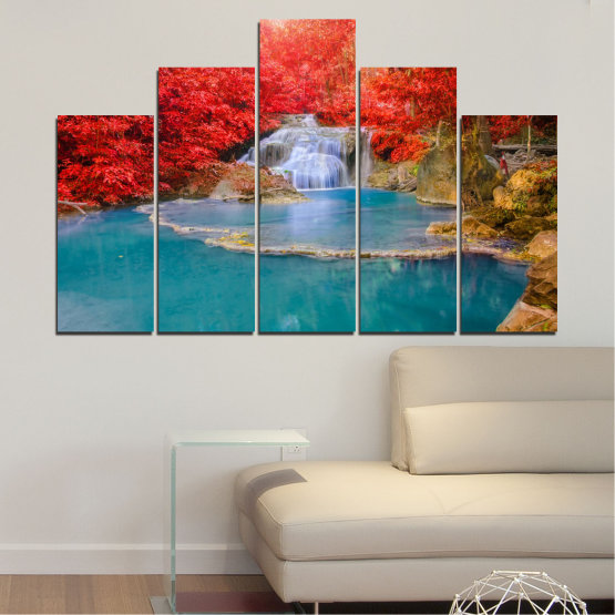 Canvas prints & wall decorative panels - 5 pieces №0457 » Red, Blue, Brown, Gray » Nature, Landscape, Water, Waterfall, Autumn Form #5