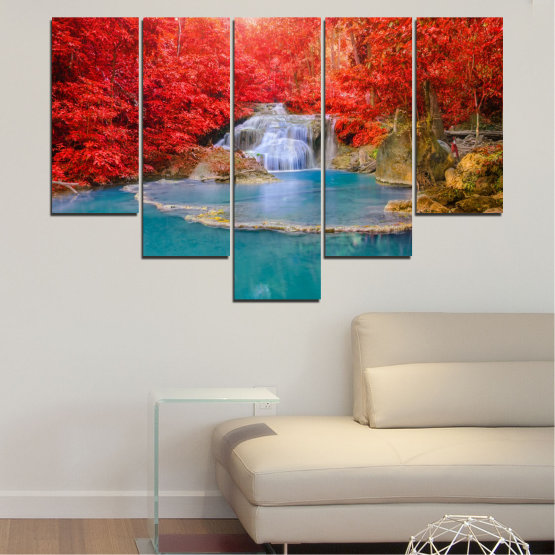 Canvas prints & wall decorative panels - 5 pieces №0457 » Red, Blue, Brown, Gray » Nature, Landscape, Water, Waterfall, Autumn Form #6