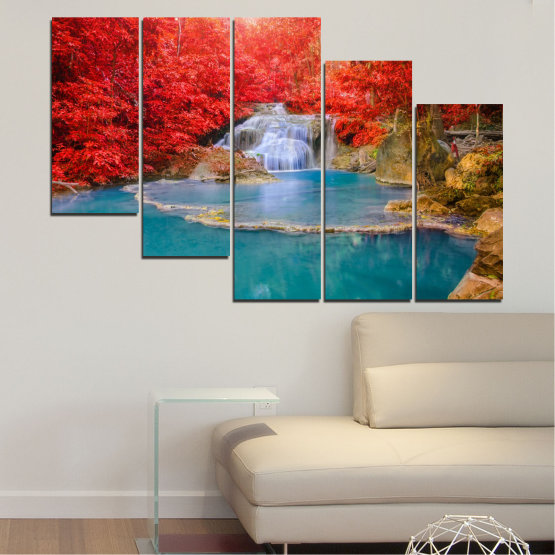 Canvas prints & wall decorative panels - 5 pieces №0457 » Red, Blue, Brown, Gray » Nature, Landscape, Water, Waterfall, Autumn Form #7
