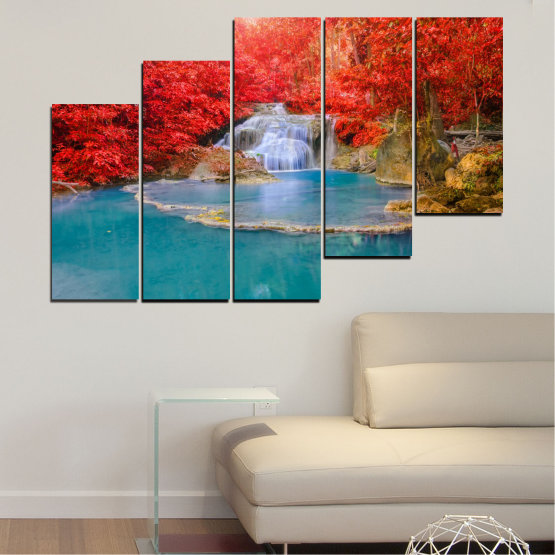Canvas prints & wall decorative panels - 5 pieces №0457 » Red, Blue, Brown, Gray » Nature, Landscape, Water, Waterfall, Autumn Form #8