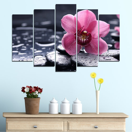 Canvas prints & wall decorative panels - 5 pieces №0458 » Black, Gray, White, Milky pink, Dark grey » Flowers, Feng shui, Orchid, Stones, Drops, Zen, Spa Form #1