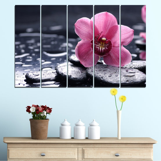 Canvas prints & wall decorative panels - 5 pieces №0458 » Black, Gray, White, Milky pink, Dark grey » Flowers, Feng shui, Orchid, Stones, Drops, Zen, Spa Form #2