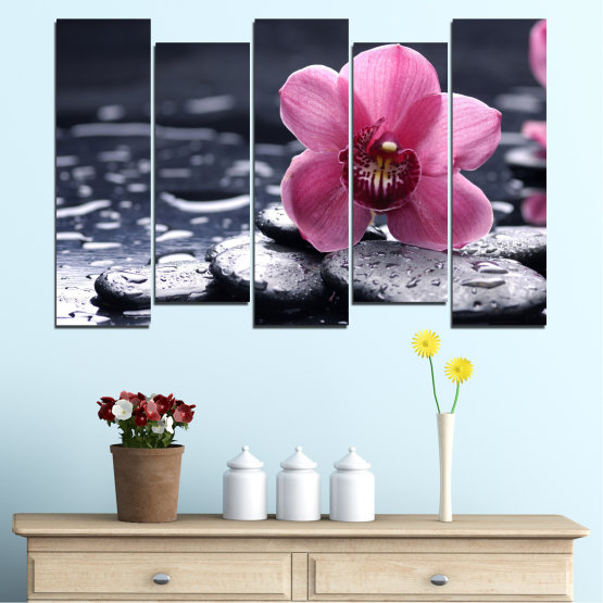 Canvas prints & wall decorative panels - 5 pieces №0458 » Black, Gray, White, Milky pink, Dark grey » Flowers, Feng shui, Orchid, Stones, Drops, Zen, Spa Form #3