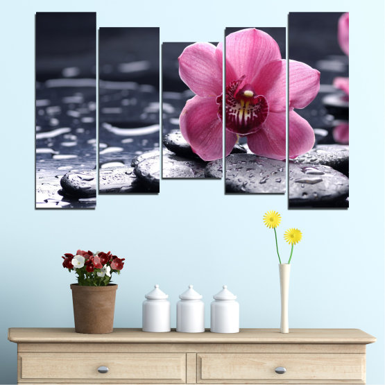 Canvas prints & wall decorative panels - 5 pieces №0458 » Black, Gray, White, Milky pink, Dark grey » Flowers, Feng shui, Orchid, Stones, Drops, Zen, Spa Form #4