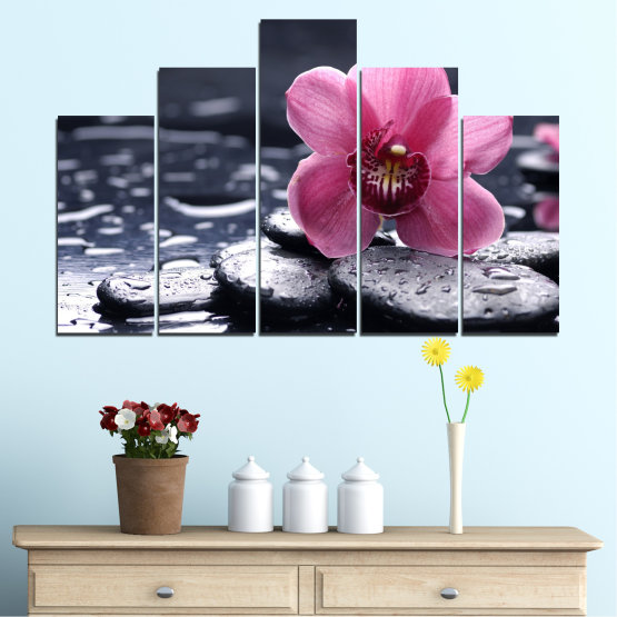 Canvas prints & wall decorative panels - 5 pieces №0458 » Black, Gray, White, Milky pink, Dark grey » Flowers, Orchid, Feng shui, Stones, Drops, Zen, Spa Form #5