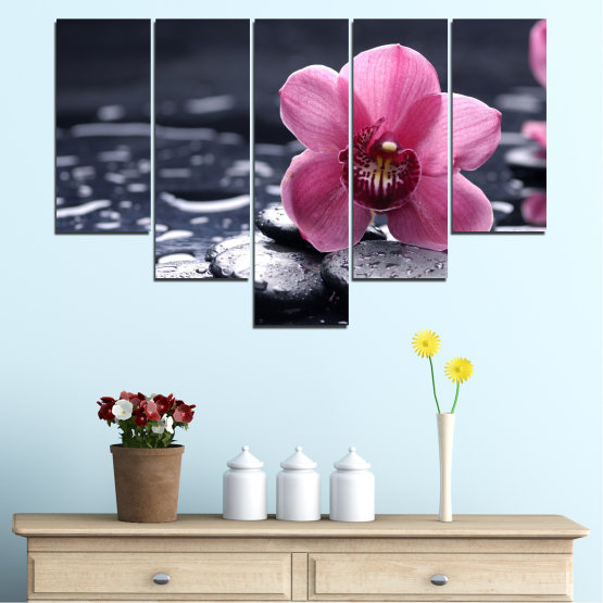 Canvas prints & wall decorative panels - 5 pieces №0458 » Black, Gray, White, Milky pink, Dark grey » Flowers, Feng shui, Orchid, Stones, Drops, Zen, Spa Form #6