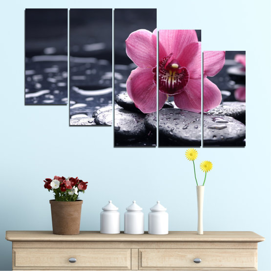 Canvas prints & wall decorative panels - 5 pieces №0458 » Black, Gray, White, Milky pink, Dark grey » Flowers, Feng shui, Orchid, Stones, Drops, Zen, Spa Form #7