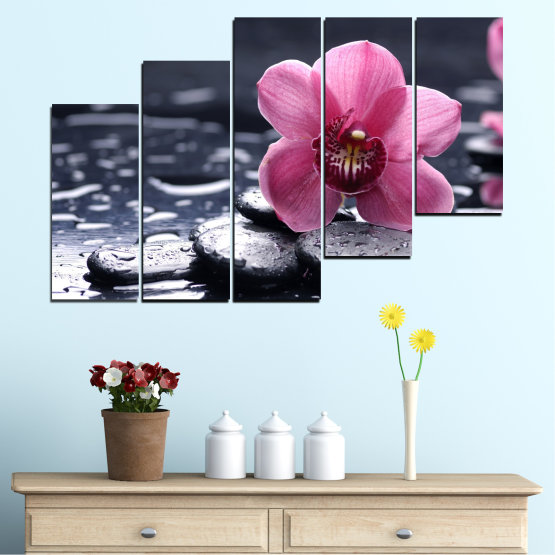 Canvas prints & wall decorative panels - 5 pieces №0458 » Black, Gray, White, Milky pink, Dark grey » Flowers, Feng shui, Orchid, Stones, Drops, Zen, Spa Form #8