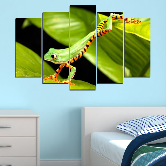 Canvas prints & wall decorative panels - 5 pieces №0459 » Green, Black » Animal, Frog, Reptile Form #1