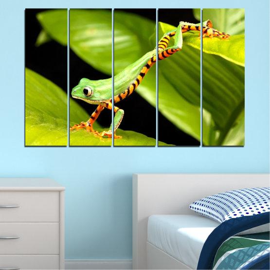 Декоративни панели и картини от канава - от 5 части №0459 » Зелен, Черен » Животни, Жаба, Влечуго Form #2