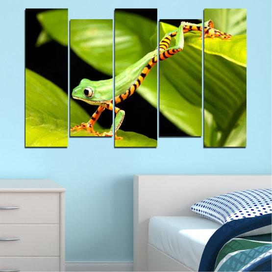 Декоративни панели и картини от канава - от 5 части №0459 » Зелен, Черен » Животни, Жаба, Влечуго Form #3