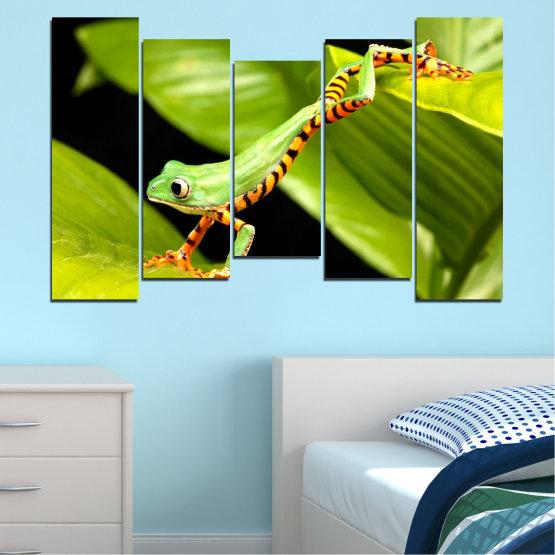 Декоративни панели и картини от канава - от 5 части №0459 » Зелен, Черен » Животни, Жаба, Влечуго Form #4