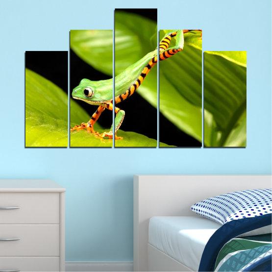 Декоративни панели и картини от канава - от 5 части №0459 » Зелен, Черен » Животни, Жаба, Влечуго Form #5