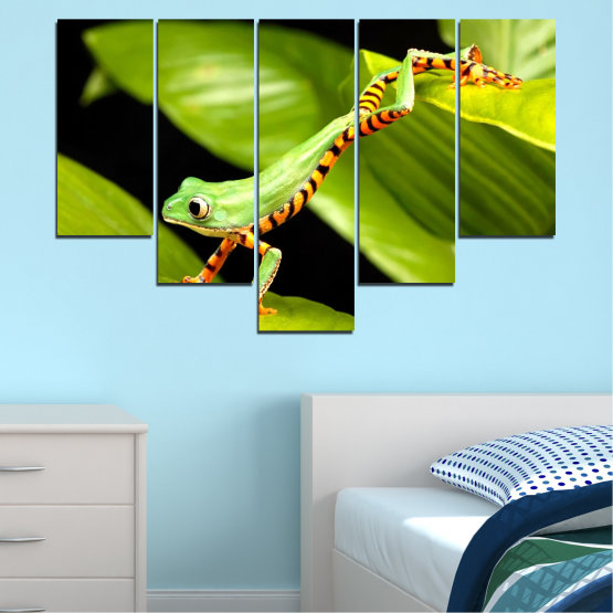 Декоративни панели и картини от канава - от 5 части №0459 » Зелен, Черен » Животни, Жаба, Влечуго Form #6