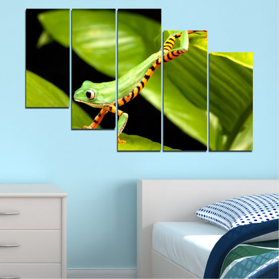 Canvas prints & wall decorative panels - 5 pieces №0459 » Green, Black » Animal, Frog, Reptile Form #7