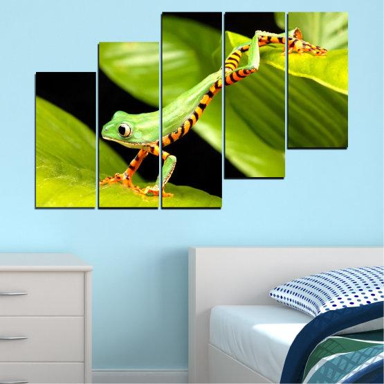Декоративни панели и картини от канава - от 5 части №0459 » Зелен, Черен » Животни, Жаба, Влечуго Form #8