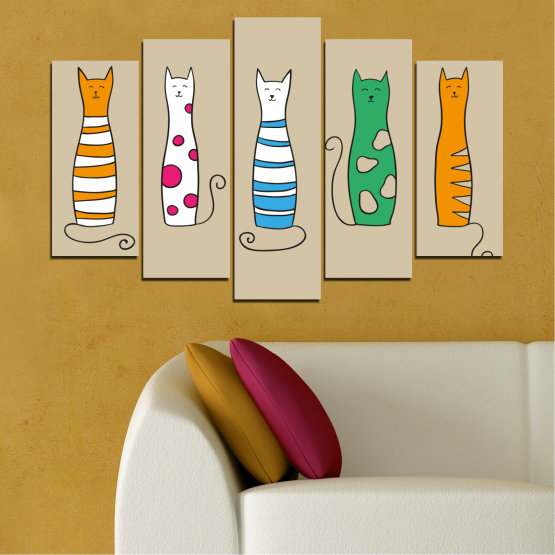 Canvas prints & wall decorative panels - 5 pieces №0046 » Green, Orange, Black, White, Beige » Animal, Drawing, Art, Cat Form #1