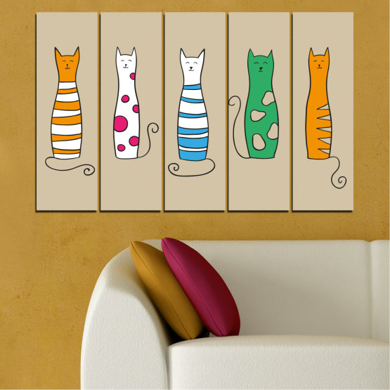 Canvas prints & wall decorative panels - 5 pieces №0046 » Green, Orange, Black, White, Beige » Animal, Drawing, Art, Cat Form #2
