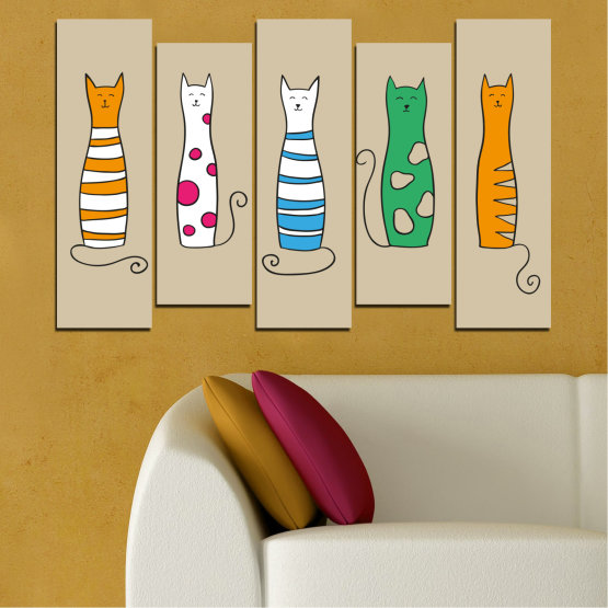 Canvas prints & wall decorative panels - 5 pieces №0046 » Green, Orange, Black, White, Beige » Animal, Drawing, Art, Cat Form #3
