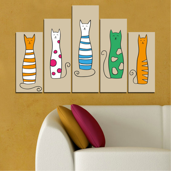 Canvas prints & wall decorative panels - 5 pieces №0046 » Green, Orange, Black, White, Beige » Animal, Drawing, Art, Cat Form #5