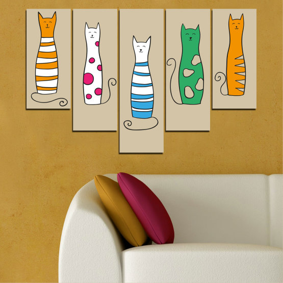 Canvas prints & wall decorative panels - 5 pieces №0046 » Green, Orange, Black, White, Beige » Animal, Drawing, Art, Cat Form #6