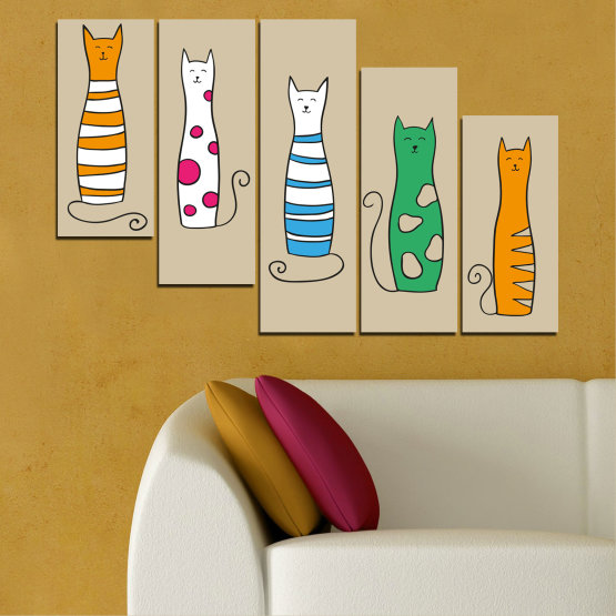 Canvas prints & wall decorative panels - 5 pieces №0046 » Green, Orange, Black, White, Beige » Animal, Drawing, Art, Cat Form #7