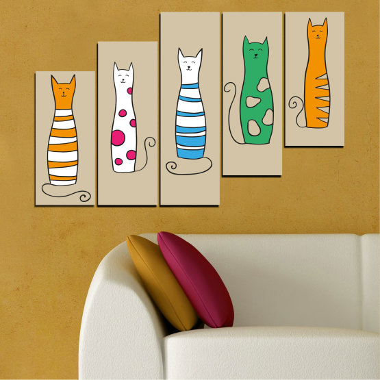 Canvas prints & wall decorative panels - 5 pieces №0046 » Green, Orange, Black, White, Beige » Animal, Drawing, Art, Cat Form #8