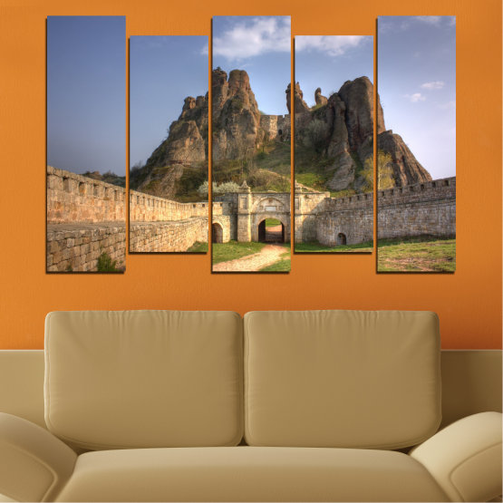 Canvas prints & wall decorative panels - 5 pieces №0461 » Brown, Gray, Dark grey » Landscape, Bulgaria, Landmark, Belogradchik Form #3