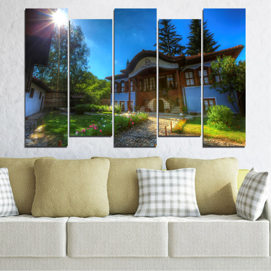 Декоративни панели и картини от канава - от 5 части №0462 » Син, Зелен, Черен, Тъмно сив » България, Забележителност, Къща, Копривщица Form #3