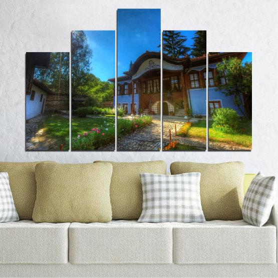 Декоративни панели и картини от канава - от 5 части №0462 » Син, Зелен, Черен, Тъмно сив » България, Забележителност, Къща, Копривщица Form #5