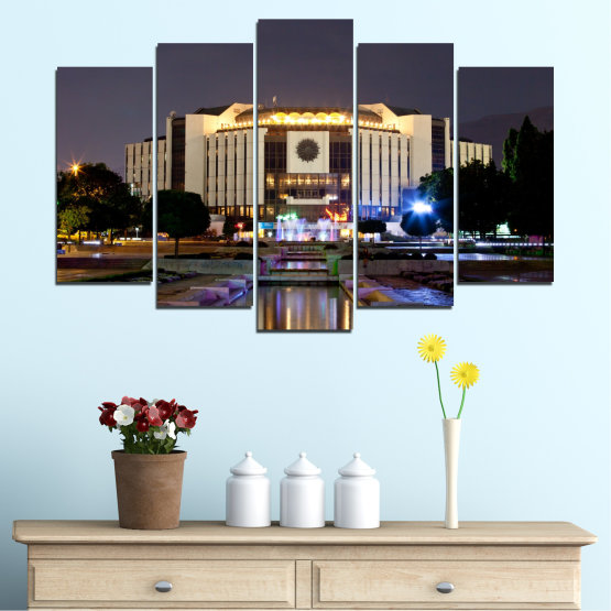 Canvas prints & wall decorative panels - 5 pieces №0463 » Brown, Black, Gray, Dark grey » City, Bulgaria, Landmark, National palace of culture Form #1