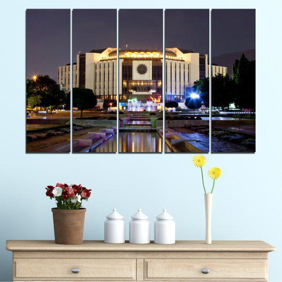 Canvas prints & wall decorative panels - 5 pieces №0463 » Brown, Black, Gray, Dark grey » City, Bulgaria, Landmark, National palace of culture Form #2