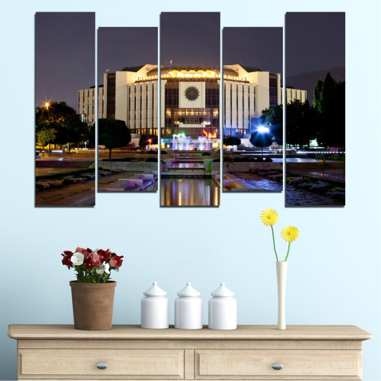 Canvas prints & wall decorative panels - 5 pieces №0463 » Brown, Black, Gray, Dark grey » City, Bulgaria, Landmark, National palace of culture Form #3