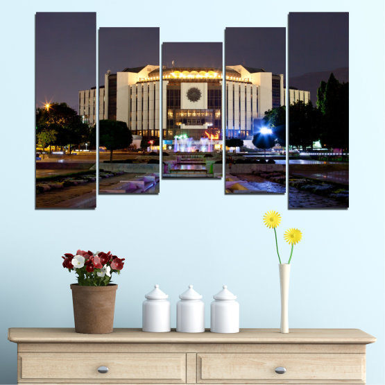 Canvas prints & wall decorative panels - 5 pieces №0463 » Brown, Black, Gray, Dark grey » City, Bulgaria, Landmark, National palace of culture Form #4