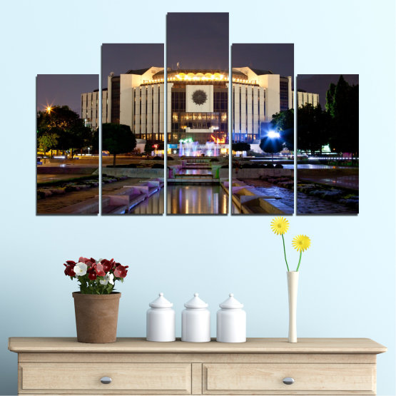 Canvas prints & wall decorative panels - 5 pieces №0463 » Brown, Black, Gray, Dark grey » City, Bulgaria, Landmark, National palace of culture Form #5