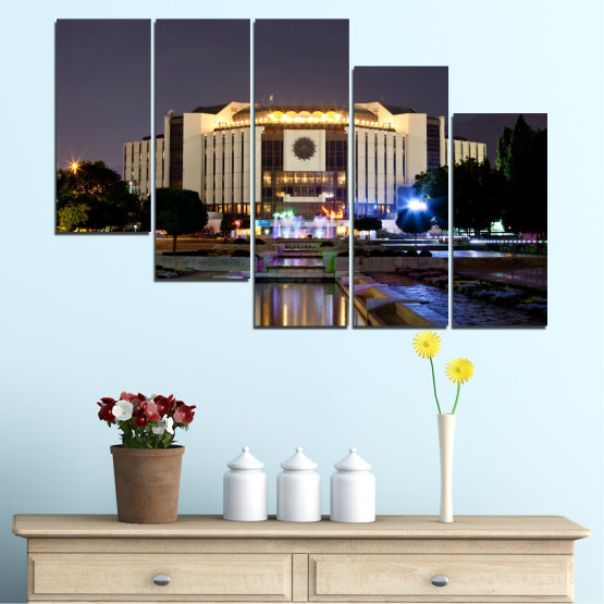 Canvas prints & wall decorative panels - 5 pieces №0463 » Brown, Black, Gray, Dark grey » City, Bulgaria, Landmark, National palace of culture Form #7