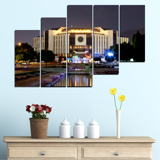 Canvas prints & wall decorative panels - 5 pieces №0463 » Brown, Black, Gray, Dark grey » City, Bulgaria, Landmark, National palace of culture Form #8