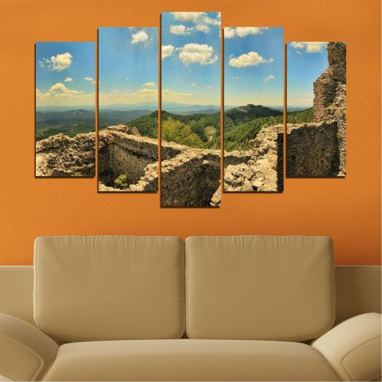 Canvas prints & wall decorative panels - 5 pieces №0464 » Turquoise, Brown, Gray, Beige, Dark grey » Landscape, Landmark, Bulgaria, Perperikon Form #1