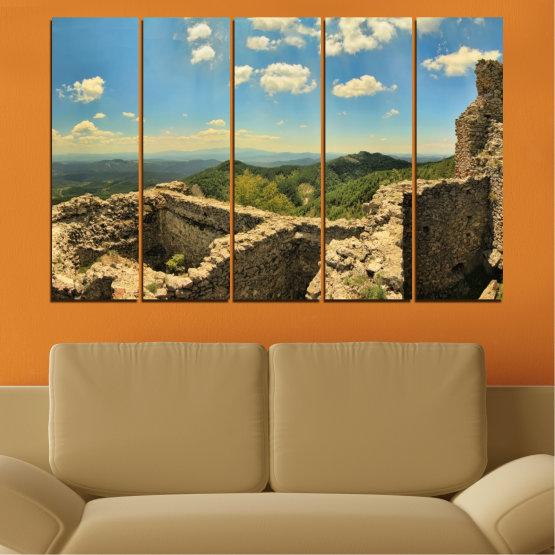 Canvas prints & wall decorative panels - 5 pieces №0464 » Turquoise, Brown, Gray, Beige, Dark grey » Landscape, Landmark, Bulgaria, Perperikon Form #2