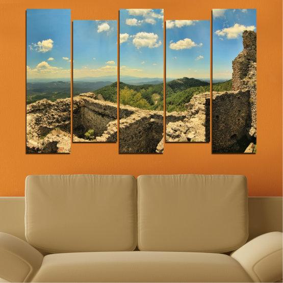 Canvas prints & wall decorative panels - 5 pieces №0464 » Turquoise, Brown, Gray, Beige, Dark grey » Landscape, Landmark, Bulgaria, Perperikon Form #3