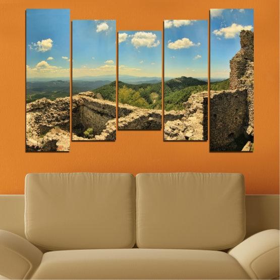 Canvas prints & wall decorative panels - 5 pieces №0464 » Turquoise, Brown, Gray, Beige, Dark grey » Landscape, Landmark, Bulgaria, Perperikon Form #4