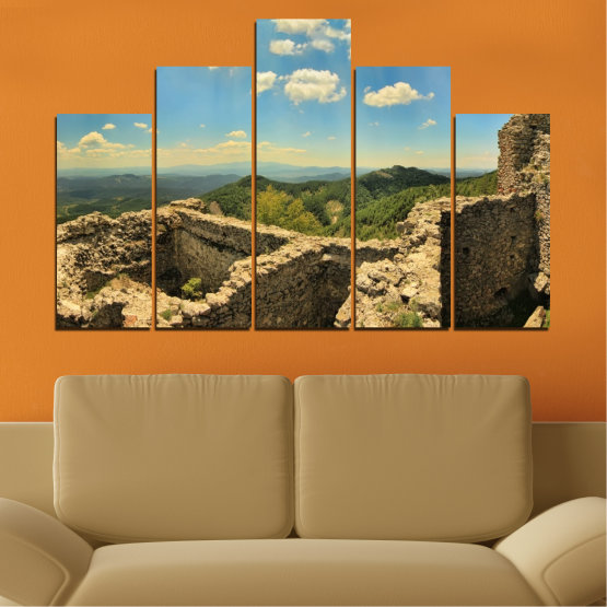 Canvas prints & wall decorative panels - 5 pieces №0464 » Turquoise, Brown, Gray, Beige, Dark grey » Landscape, Landmark, Bulgaria, Perperikon Form #5