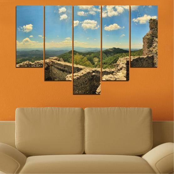 Canvas prints & wall decorative panels - 5 pieces №0464 » Turquoise, Brown, Gray, Beige, Dark grey » Landscape, Landmark, Bulgaria, Perperikon Form #6