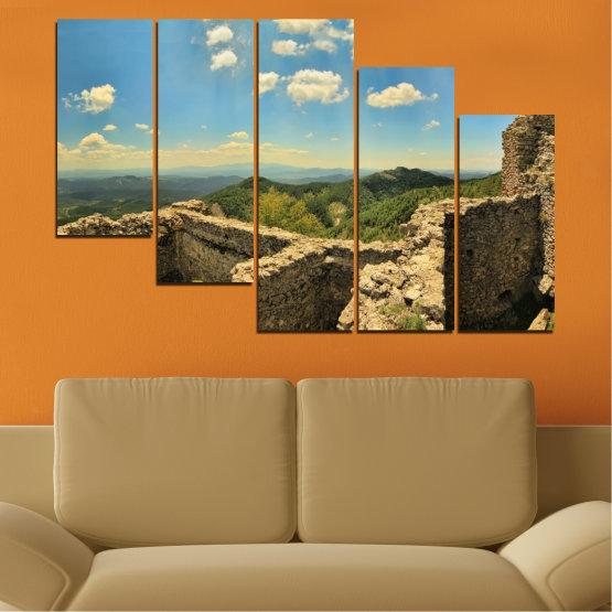 Canvas prints & wall decorative panels - 5 pieces №0464 » Turquoise, Brown, Gray, Beige, Dark grey » Landscape, Landmark, Bulgaria, Perperikon Form #7