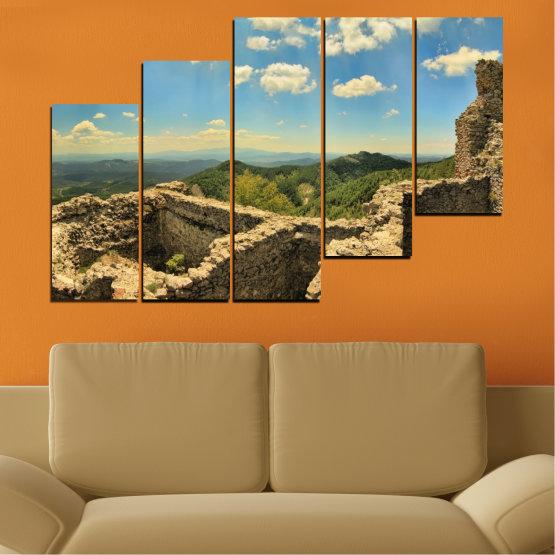 Canvas prints & wall decorative panels - 5 pieces №0464 » Turquoise, Brown, Gray, Beige, Dark grey » Landscape, Landmark, Bulgaria, Perperikon Form #8