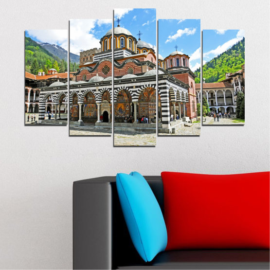 Canvas prints & wall decorative panels - 5 pieces №0465 » Turquoise, Gray, White, Dark grey » Bulgaria, Landmark, Rila monastery Form #1