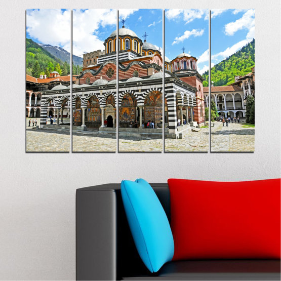 Canvas prints & wall decorative panels - 5 pieces №0465 » Turquoise, Gray, White, Dark grey » Bulgaria, Landmark, Rila monastery Form #2